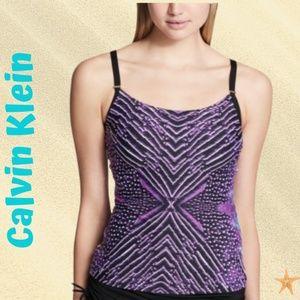 Calvin Klein Artemis Printed Tankini Top Purple